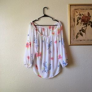 NWT off the shoulder semi sheer floral blouse